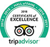 B&B Gallery Yasmine Certificate of Excellence - TripAdvisor Hall Of Fame Award 2014-2018